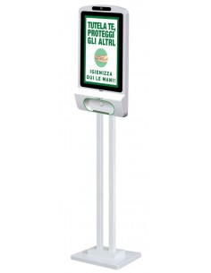 Totem multimediale con sanitizer